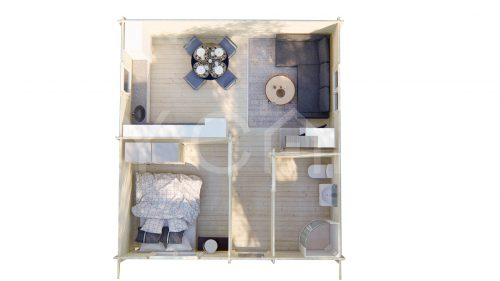One Bed Type B Residential Log Cabin Floor Plan