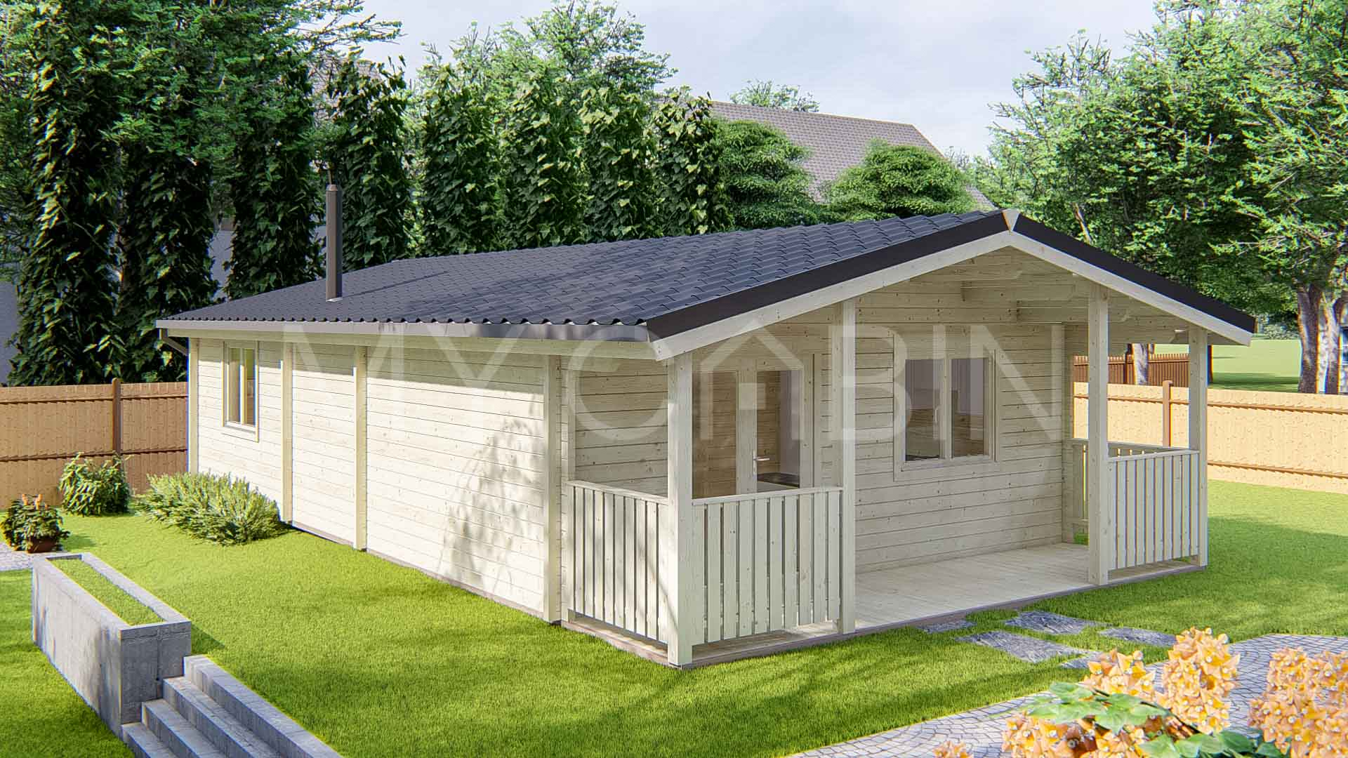 Two Bed Type A Residential Log Cabin Exterior