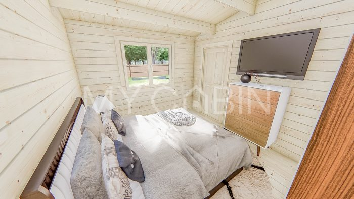 One Bed Type A Residential Log Cabin Interior