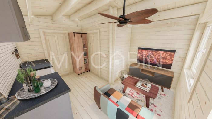 One Bed D Residential Log Cabin Interior