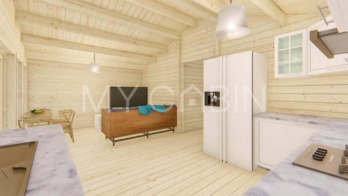 Three Bed A Log Cabin Interior