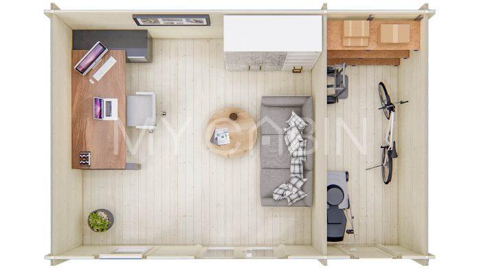 Longford Two Room Storage Log Cabin Floor Plan