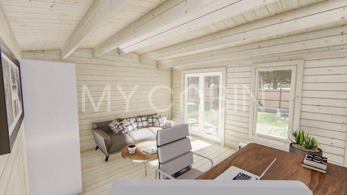 Longford Two Room Storage Log Cabin Interior