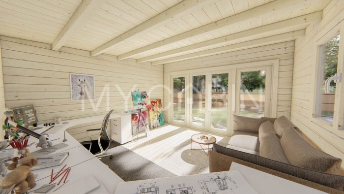 Kildare Garden Log Cabin Interior