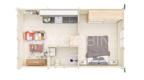One Bed D Residential Log Cabin Floor Plan