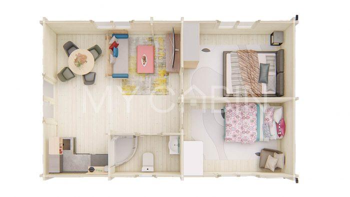 Budget Two Bed Log Cabin Log Home Floor Plan